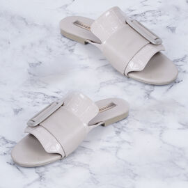 Inyati - NATALIE Taupe Sandals with Statement Buckle