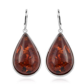 30 Carat Baltic Amber Solitaire Drop Earrings in Sterling Silver