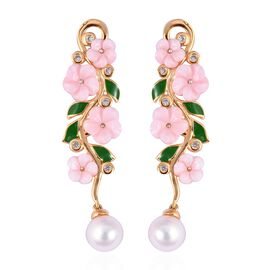 Jardin Collection Mother of Pearl and Multi Gemstone Floral Drop Earrings in Gold Plated Silver