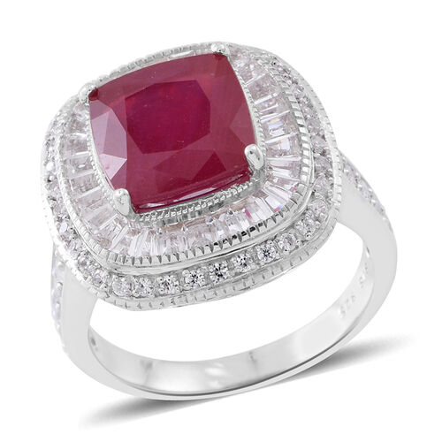 African Ruby (Cush 6.00 Ct), White Topaz Ring in Rhodium Plated Sterling Silver 9.500 Ct. Silver wt