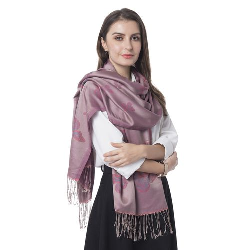 Pink, Purple and Turquiose Colour Butterfly Pattern Scarf with Tassels (Size 180x70 Cm)