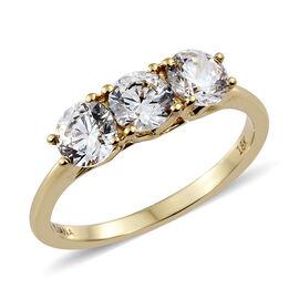 J Francis - ILIANA 18K Yellow Gold (Rnd) Trilogy Ring Made with SWAROVSKI ZIRCONIA.Gold Wt 3.28 Gms