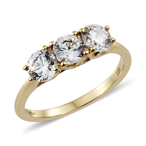 J Francis - ILIANA 18K Yellow Gold (Rnd) Trilogy Ring Made with SWAROVSKI ZIRCONIA.Gold Wt 3.28 Gms