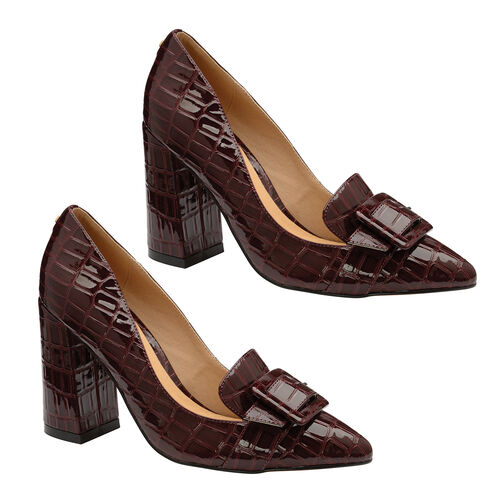 Ravel Burgundy Croc-Print Lincoln Block Heeled Court Shoes (Size 3)