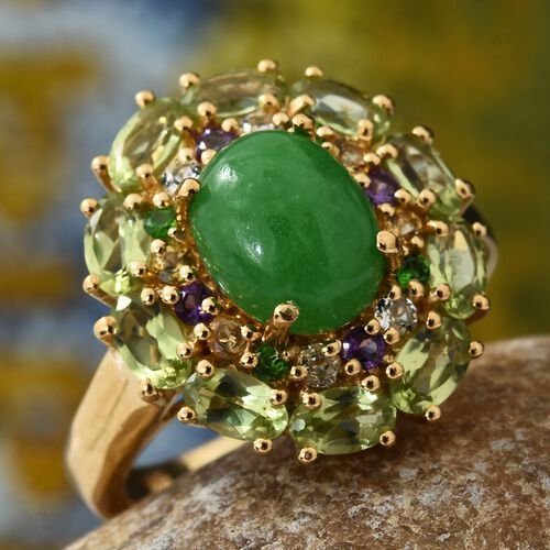 Green Jade (Ovl 3.50 Ct), Hebei Peridot, Russian Diopside and Multi Gemstone Ring in 14K Gold Overlay Sterling Silver 6.500 Ct.