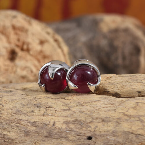 LucyQ African Ruby (Rnd) Rose Thorn Earrings (with Push Back) in Platinum Overlay Sterling Silver 7.750 Ct.