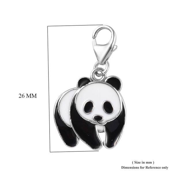 Platinum Overlay Sterling Silver Enamelled Panda Charm
