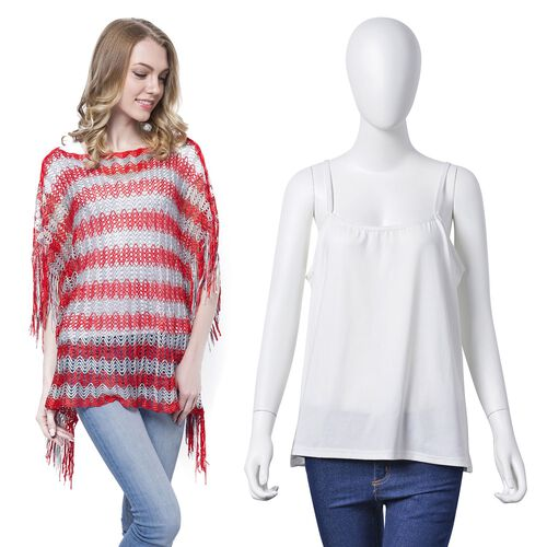 Red and Grey Colour Stripe Pattern Poncho (Size 90x55 Cm) and White Colour Vest (Size 60x55 Cm)