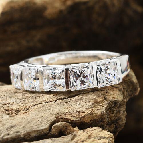 J Francis - Sterling Silver (Sqr) 5 Stone Ring Made with SWAROVSKI ZIRCONIA.