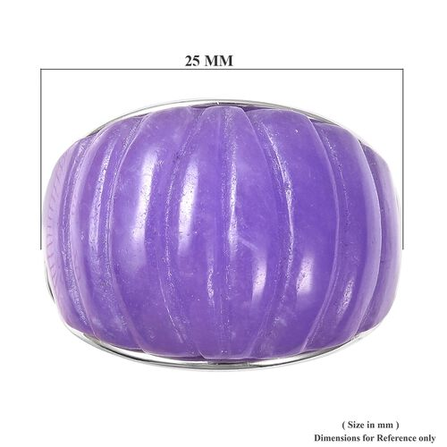 Carved Purple Jade Ring in Rhodium Overlay Sterling Silver 28.75 Ct.