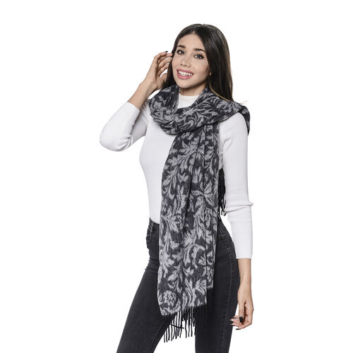 LA MAREY Super Soft 100% Lambswool Jacquard Leaves Pattern Showl with Tassels (180x70cm) - Black and Grey