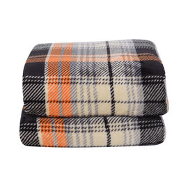 Check Pattern Flannel Sherpa Blanket (Size 190x150cm) - Orange, Beige and Black
