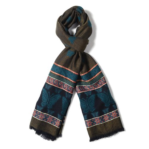 Turquiose, Green and Multi Colour Scarf with Butterfly and Strip Pattern (Size 170x68 Cm)