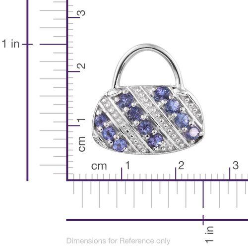 Tanzanite (Rnd) Handbag Design Pendant in Platinum Overlay Sterling Silver 1.000 Ct.