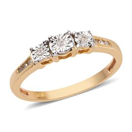 Diamond 14K Gold Overlay Sterling Silver Ring  0.100  Ct.