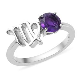 AA Amethyst Zodiac-Virgo Ring in Platinum Overlay Sterling Silver 0.50 Ct.