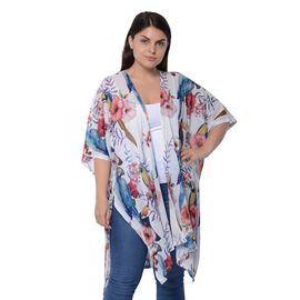 White and Multi Colour Bird and Floral Pattern Kimono (Size 94x89 Cm)
