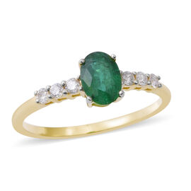 0.95 Ct AAA Emerald and Diamond Solitaire Design Ring in 14K Gold 1.57 Grams