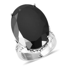 57.50 Ct Boi Ploi Black Spinel Solitaire Ring in Rhodium Plated Sterling Silver 8.29 Grams