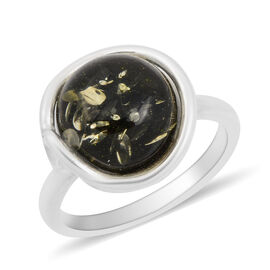 Baltic Green Amber Ring in Sterling Silver