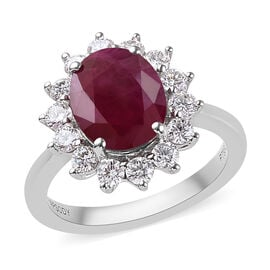 RHAPSODY 3.90 Ct AAAAA Burmese Ruby and Diamond Halo Ring in 950 Platinum 5.49 Grams VS EF