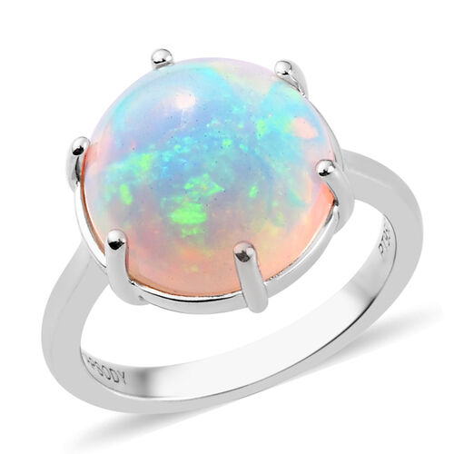 RHAPSODY 950 Platinum Extremely Rare Size AAAA Ethiopian Welo Opal (Round 12mm) Ring 4.75 Ct, Platin