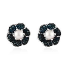 Freshwater Pearl and Blue Diamond Floral Stud Earrings in Platinum Plated Silver