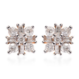 9K Y Gold SGL Certified Natural Diamond (I3/G-H) Stud Earrings (with Push Back) 0.33 Ct.