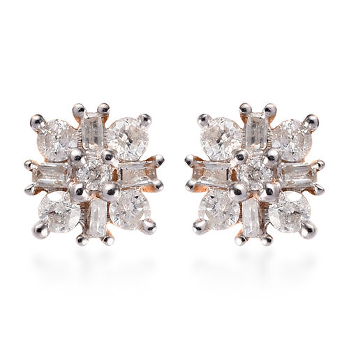 9K Y Gold SGL Certified Natural Diamond Stud Earrings (with Push Back) 0.33 Ct.