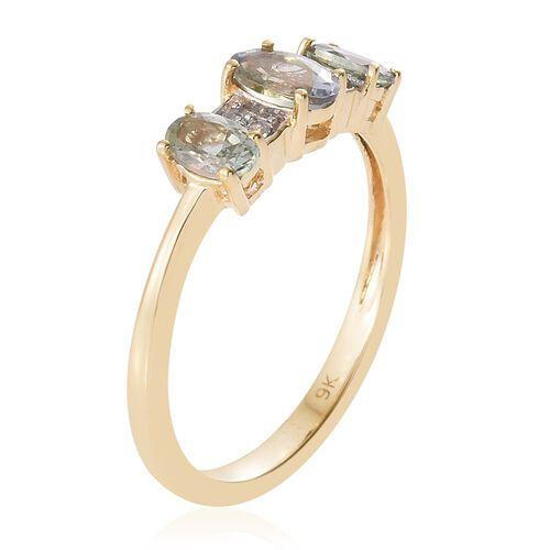 9K Yellow Gold 1.00 Ct AA Green Tanzanite Ring with Natural Cambodian Zircon