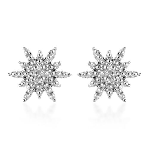 Back By Popular Demand-Diamond Starburst Stud Earrings (with Push Back) in Platinum Overlay Sterling