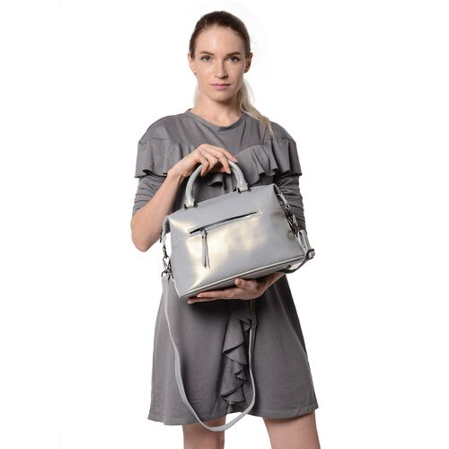 HONG KONG CLOSE OUT DEAL- 100% Genuine Leather Silver Grey Metallic Colour Tote Bag with External Zi