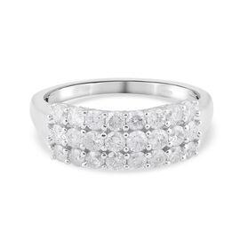 14K White Gold Diamond (I1-I2/ G-H) Cluster Ring 1.03 Ct.