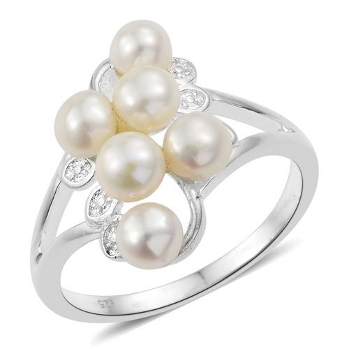 One Time Deal- Fresh Water Pearl (Rnd 5mm) Sterling Silver Ring Silver wt 3.64 Gms.