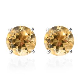 Citrine Solitaire Stud Earrings (with Push Back) in Sterling Silver 2.51 Ct.