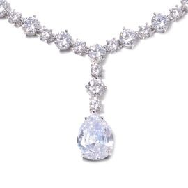 Lustro Stella Simulated Diamond (Pear and Rnd) Necklace (Size 18) in Rhodium Overlay Sterling Silver
