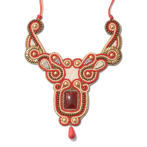 Statement Collection- Red and Gold Colour Beads Adjustable Necklace (Size 16 to 24)
