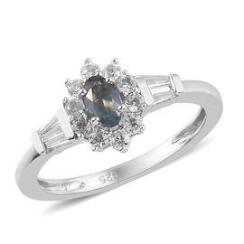 Narsipatnam Alexandrite, Natural Cambodian Zircon Halo Ring in Platinum Overlay Sterling Silver 1.00