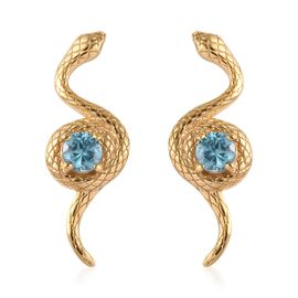 Ratanakiri Blue Zircon Snake Earrings (with Push Back) in 14K Gold Overlay Sterling Silver 1.00 Ct.