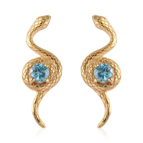 Ratanakiri Blue Zircon Snake Earrings (with Push Back) in 14K Gold Overlay Sterling Silver 1.00 Ct.