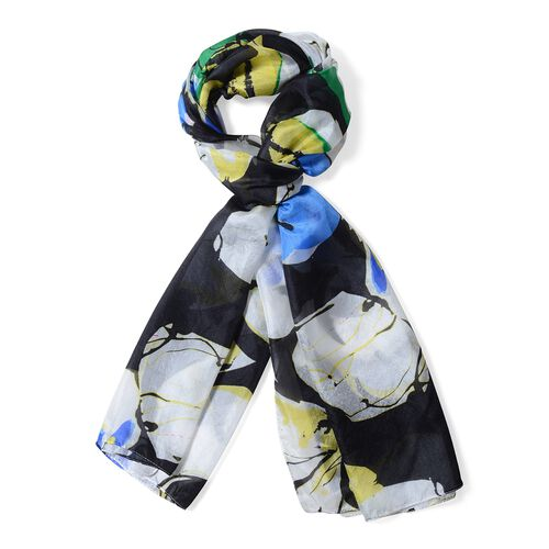 100% Mulberry Silk Off White, Black and Multi Colour Floral Pattern Scarf (Size 175x53 Cm)