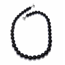 Black Agate Graduated Necklace (Size 20) with Magnetic Lock in Platinum Overlay Sterling Silver 459.000 Ct.