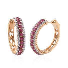 African Ruby (Rnd), Natural Cambodian Zircon Hoop Earrings (With Clasp Lock) in 14K Gold Overlay Ste
