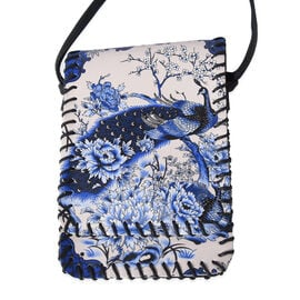 Water Resistant Peacock Print Sling Bag with Button Closure (Size 12.5x18cm) - Beige and Blue