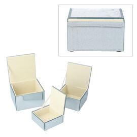 Set of 3 Shimmering Dots Pattern Square Jewellery Organiser in Glitter White
