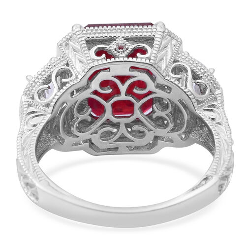 Very Rare Size -African Ruby (Oct 9.15 Ct), White Topaz Ring in Rhodium Plated Sterling Silver 11.500 Ct. Silver wt 6.50 Gms.