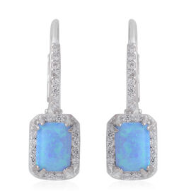 Simulated Blue Opal (Oct), Simulated Diamond Earrings in Rhodium Plated Sterling Silver, Silver wt 3.00 Gms.
