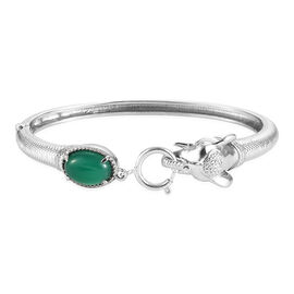 Green Onyx Bangle (Size 7.5) with Spring Ring Clasp in Stainless Steel 5.69 Ct.