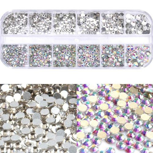 2 Layer Fashion Face Cover Silver Reusable Aurora Borealis Crystal Covered