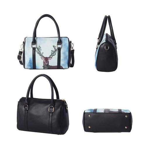 Set of 5 - Deer Pattern Tote Bag (29x12.5x30cm), Convertible Bag (27.5x13x19cm), Crossbody Bag (12.5x9x22cm), Wallet (19x2x10cm) & key Bag (6x10cm) -Mint Blue